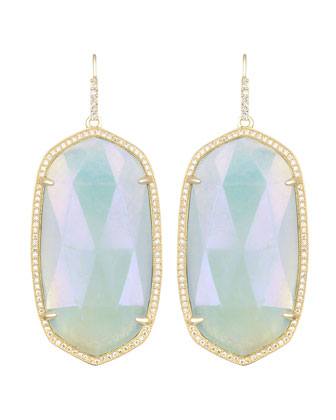 Large Pave-Trim Iridescent Amazonite Drop Earrings