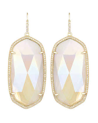 Large Pave-Trim Iridescent Agate Drop Earrings