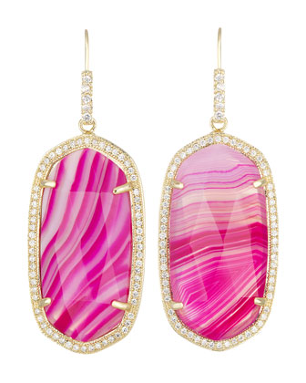 Small Pave-Trim Pink Agate Drop Earrings