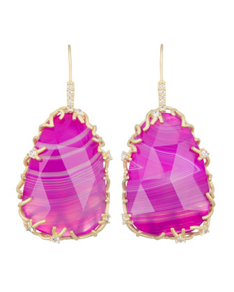 Large Branch-Bezel Drop Earrings, Pink Agate