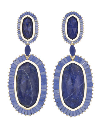 Baguette-Trim Oval Drop Earrings, Lapis