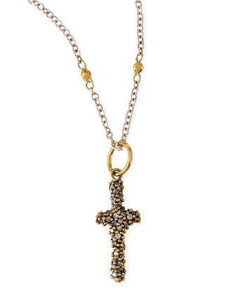 Crystal Studded Dedalion Cross Charm Necklace