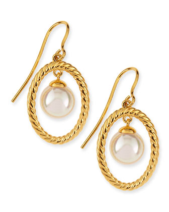 Round Pearl Gold Drop Earrings