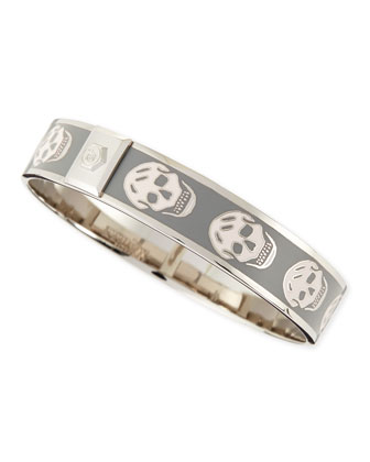 Small Enamel Skull Bangle, Pale Beige