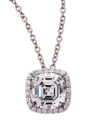 6.75ct Asscher Cut Cubic Zirconia Pendant Necklace
