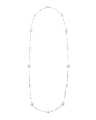 Pearl & Cubic Zirconia Silver Necklace