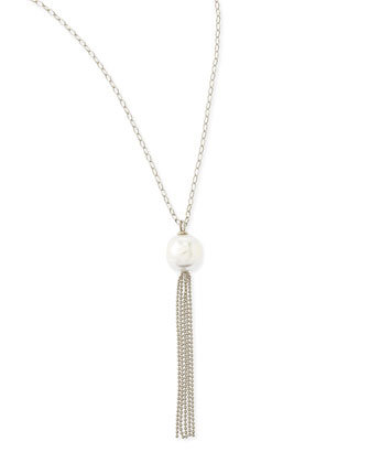 16mm Pearl Silver Tassel Necklace