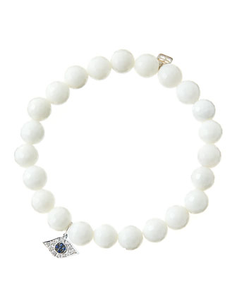 8mm Faceted White Agate Beaded Bracelet with 14k White Gold/Diamond Small ...