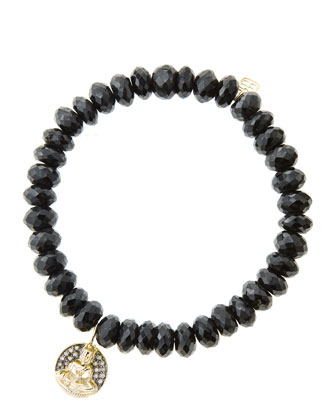 8mm Faceted Black Spinel Beaded Bracelet with 14k Gold/Diamond Sitting ...