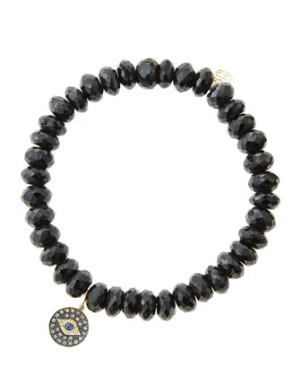 8mm Faceted Black Spinel Beaded Bracelet with 14k Gold/Rhodium Diamond ...
