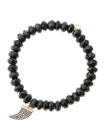 8mm Faceted Black Spinel Beaded Bracelet with 14k Gold/Diamond Medium Horn ...