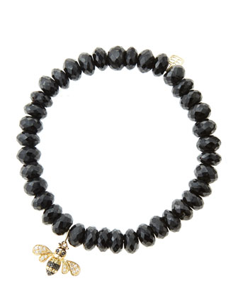 8mm Faceted Black Spinel Beaded Bracelet with 14k Gold/Diamond Bee Charm ...