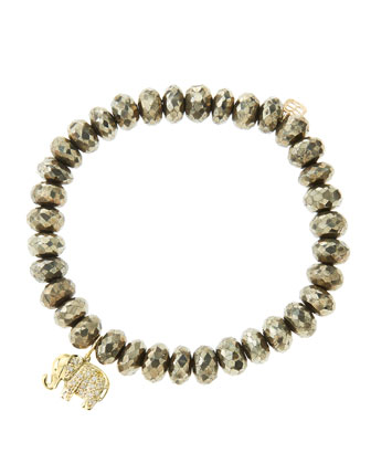 8mm Faceted Champagne Pyrite Beaded Bracelet with 14k Gold/Diamond Small ...