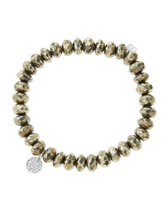 8mm Faceted Champagne Pyrite Beaded Bracelet with Mini White Gold Pave ...