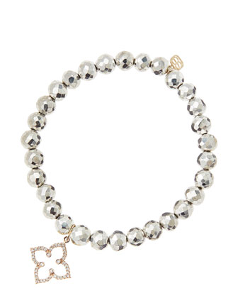6mm Faceted Silver Pyrite Beaded Bracelet with 14k Rose Gold/Diamond ...