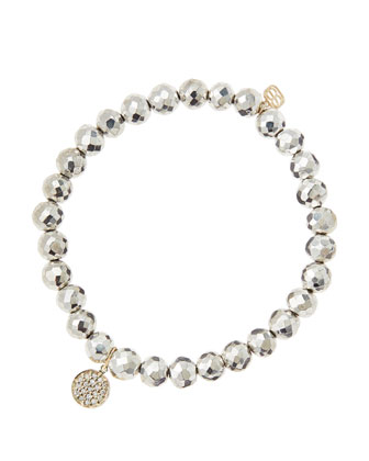 6mm Faceted Silver Pyrite Beaded Bracelet with Mini Yellow Gold Pave ...