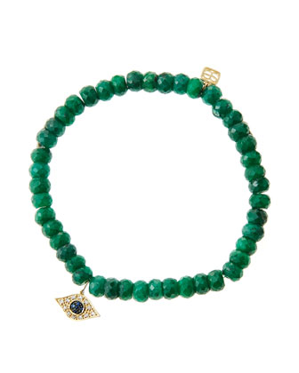 6mm Faceted Emerald Beaded Bracelet with 14k Yellow Gold/Diamond Small Evil ...