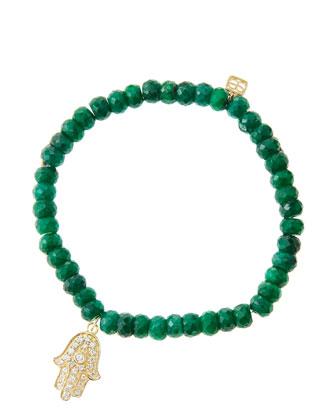 6mm Faceted Emerald Beaded Bracelet with 14k Yellow Gold/Diamond Medium ...