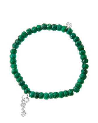 6mm Faceted Emerald Beaded Bracelet with 14k White Gold/Diamond Love Charm ...
