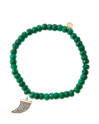 6mm Faceted Emerald Beaded Bracelet with 14k Gold/Diamond Medium Horn Charm ...