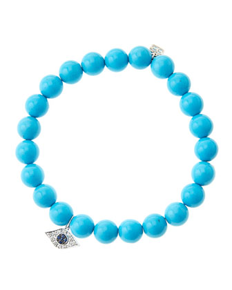 8mm Turquoise Beaded Bracelet with 14k White Gold/Diamond Small Evil Eye ...