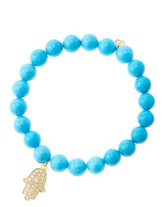 8mm Turquoise Beaded Bracelet with 14k Yellow Gold/Diamond Medium Hamsa ...