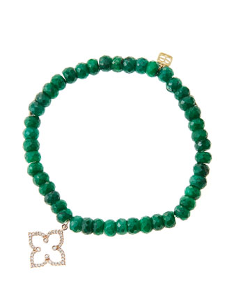 6mm Faceted Emerald Beaded Bracelet with 14k Rose Gold/Diamond Moroccan ...