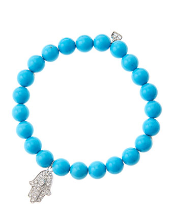 8mm Turquoise Beaded Bracelet with 14k White Gold/Diamond Medium Hamsa ...