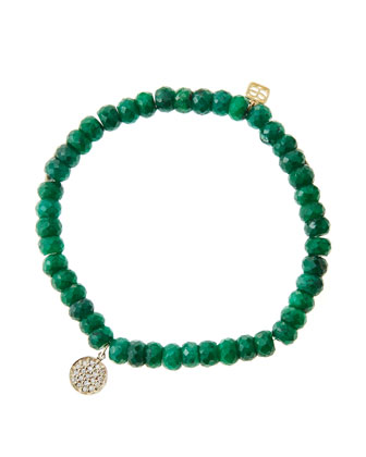 6mm Faceted Emerald Beaded Bracelet with Mini Yellow Gold Pave Diamond Disc ...