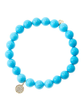 8mm Turquoise Beaded Bracelet with Mini Yellow Gold Pave Diamond Disc Charm ...