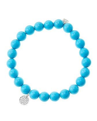 8mm Turquoise Beaded Bracelet with Mini White Gold Pave Diamond Disc Charm ...