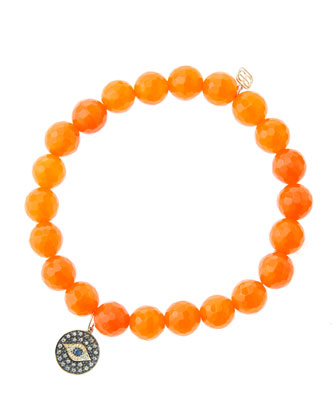 8mm Faceted Orange Agate Beaded Bracelet with 14k Gold/Rhodium Diamond ...
