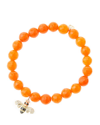 8mm Faceted Orange Agate Beaded Bracelet with 14k Gold/Diamond Bee Charm ...