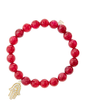 8mm Faceted Red Agate Beaded Bracelet with 14k Yellow Gold/Diamond Medium ...