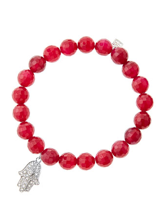 8mm Faceted Red Agate Beaded Bracelet with 14k White Gold/Diamond Medium ...