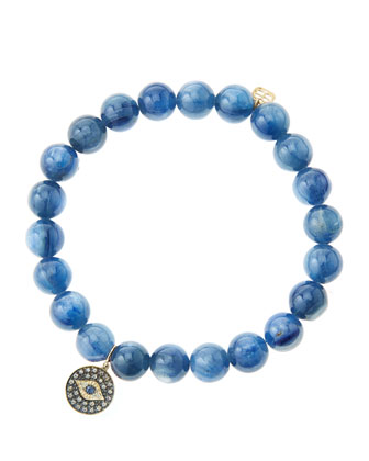 8mm Kyanite Beaded Bracelet with 14k Gold/Rhodium Diamond Small Evil Eye ...