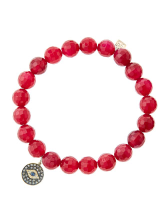 8mm Faceted Red Agate Beaded Bracelet with 14k Gold/Rhodium Diamond Small ...