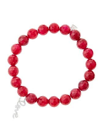 8mm Faceted Red Agate Beaded Bracelet with 14k White Gold/Diamond Love ...