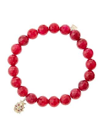 8mm Faceted Red Agate Beaded Bracelet with 14k Gold/Diamond Medium Ladybug ...