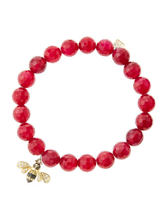8mm Faceted Red Agate Beaded Bracelet with 14k Gold/Diamond Bee Charm (Made ...