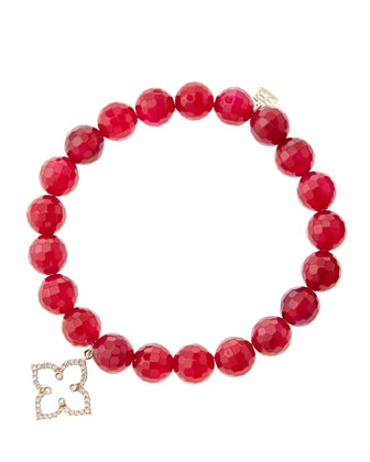 8mm Faceted Red Agate Beaded Bracelet with 14k Rose Gold/Diamond Moroccan ...