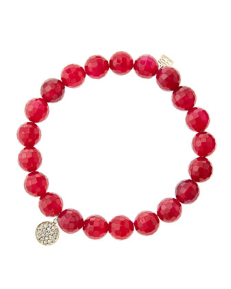 8mm Faceted Red Agate Beaded Bracelet with Mini Yellow Gold Pave Diamond ...