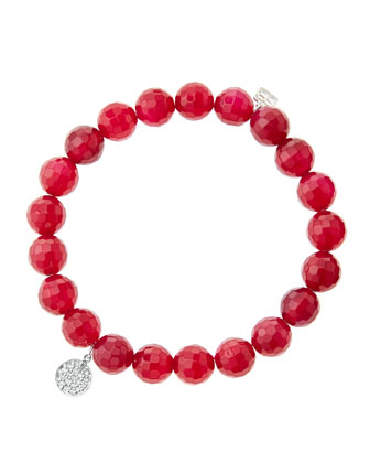 8mm Faceted Red Agate Beaded Bracelet with Mini White Gold Pave Diamond ...