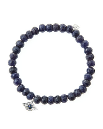 6mm Faceted Sapphire Beaded Bracelet with 14k White Gold/Diamond Small Evil ...