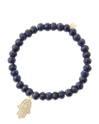 6mm Faceted Sapphire Beaded Bracelet with 14k Yellow Gold/Diamond Medium ...