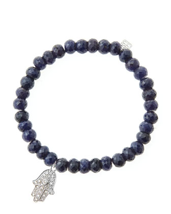 6mm Faceted Sapphire Beaded Bracelet with 14k White Gold/Diamond Medium ...