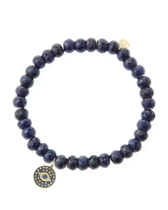 6mm Faceted Sapphire Beaded Bracelet with 14k Gold/Rhodium Diamond Small ...