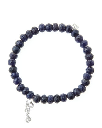 6mm Faceted Sapphire Beaded Bracelet with 14k White Gold/Diamond Love Charm ...