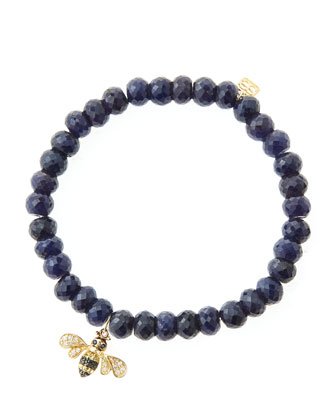 6mm Faceted Sapphire Beaded Bracelet with 14k Gold/Diamond Bee Charm (Made ...