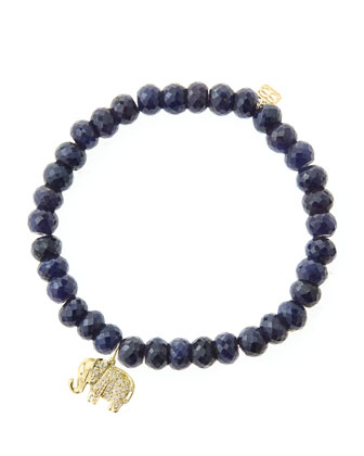 6mm Faceted Sapphire Beaded Bracelet with 14k Gold/Diamond Small Elephant ...